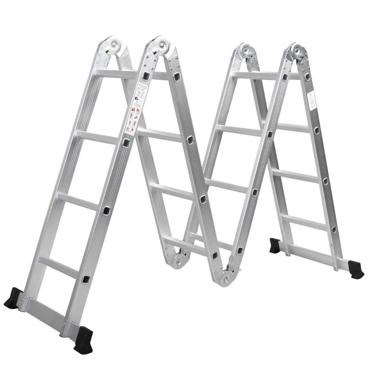Zimtown 15.5FT Multi Purpose Aluminum Folding Step Ladder Scaffold Extendable Heavy Duty