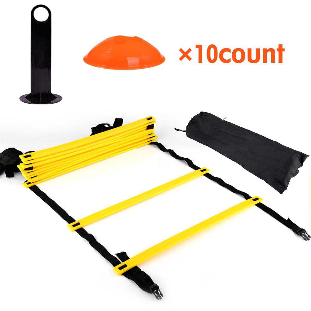 Tbest Speed Agility Training Ladder Kit--12 Adjustable Flat Rungs and 10 Cones (Orange/Yellow) for Fo,Agility Ladder Cones Speed Ladders
