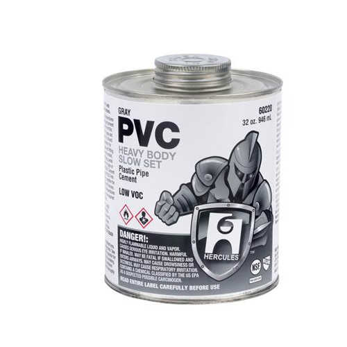 Hercules 16 oz. Heavy Body, Slow Set PVC Cement (Gray)