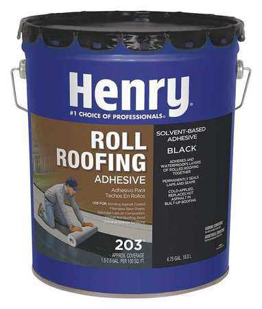 HENRY HE203071 Roll Roofing Adhesive, Black, Matte, 5 gal.