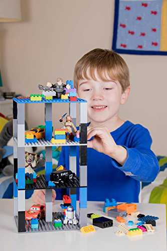 Classic Baseplates 6' x 6' Brik Tower by Strictly Briks | 100% Compatible with All Major Brands | Building Bricks for Towers, Shelves and More | 6 Baseplates & 50 Stackers in Blue Green & Gray