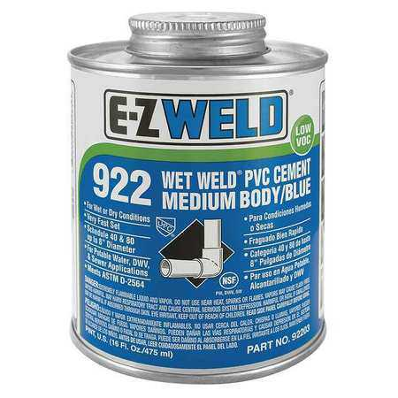 EZ WELD WW92202 Cement, 8 Oz, Blue, Schedule 40 And 80