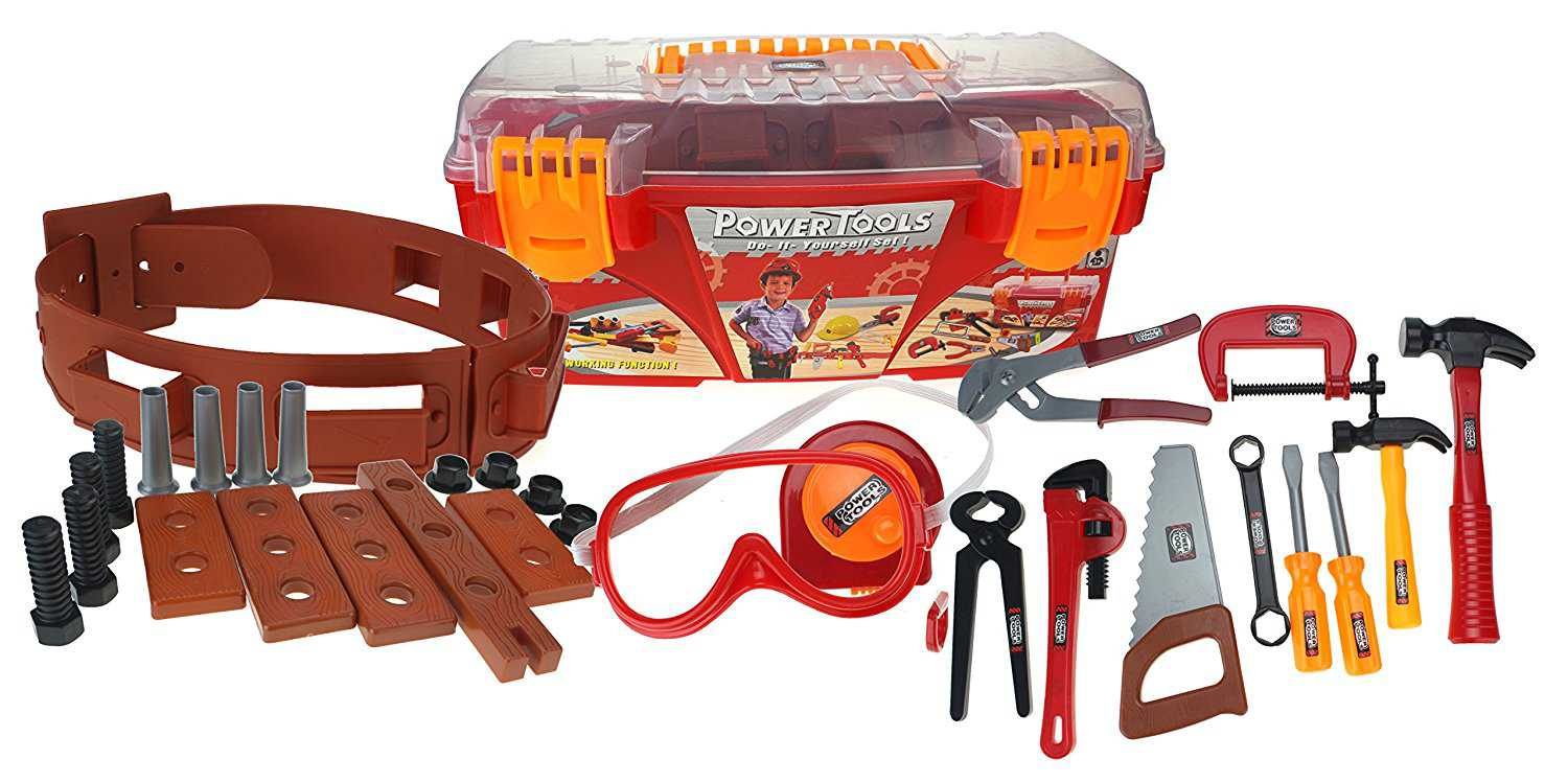 Power Tools Toy Toolbox & Tools Set w/ Tool Belt, Measuring Tape , Goggles, Nuts, Bolts, & Tools