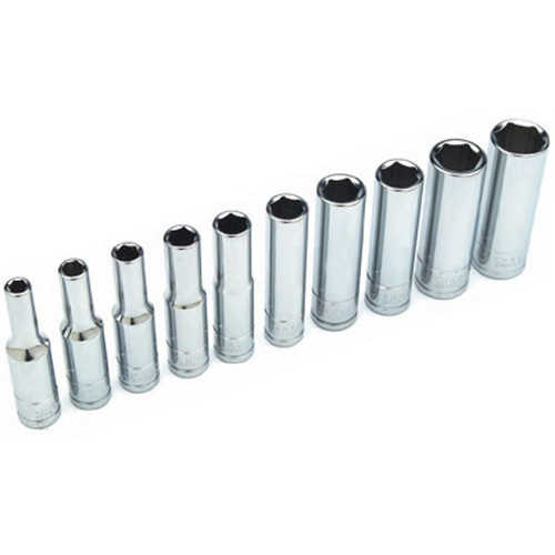 Performance Tool W36300 Chrome Socket Set, 1/4' Drive, 10 Piece, 5/32' to 1/2', 6 Point, Deep