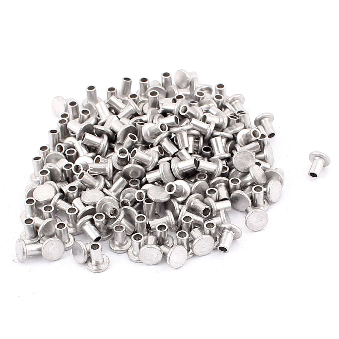 200 Pcs M4 x 6mm Aluminum Flat Head Semi-Tubular Rivets Silver Tone