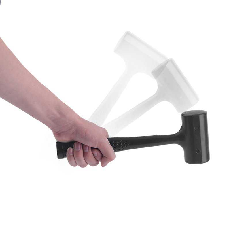 New Upgraded Professional No Elasticity Dead Blow Rubber Hammer Mallet Double-faced Shock Absorbing with A Steel Handle(Black)