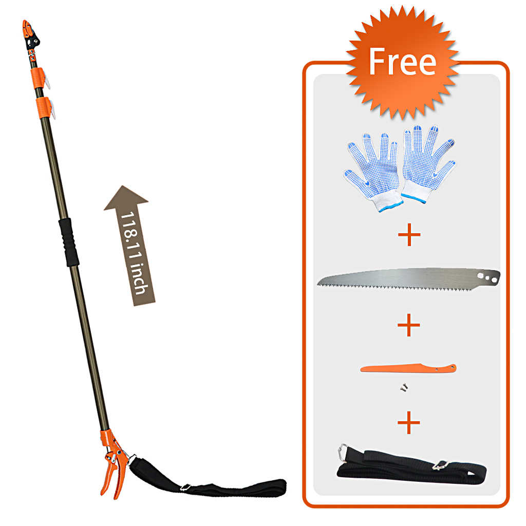 Finether Telescopic Long Reach Aluminum Cut & Hold Pole Pruner and Saw, Branch Trimmer with Bypass Pruner, Saw Blade, Guide Rod, Shoulder Strap, Work Gloves, 3 Sections