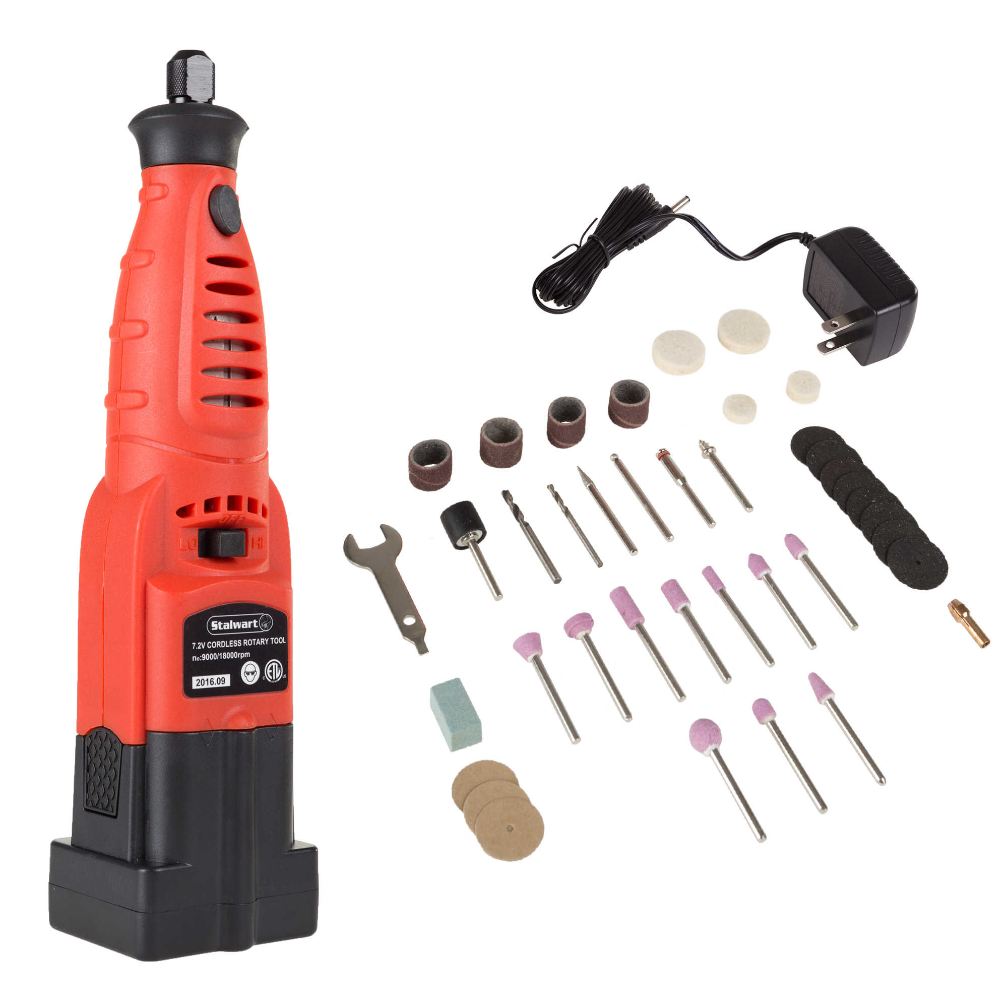 Rotary Tool Kit 7.2 Volt Cut Grind Polish Sand 40 PC Set By Stalwart