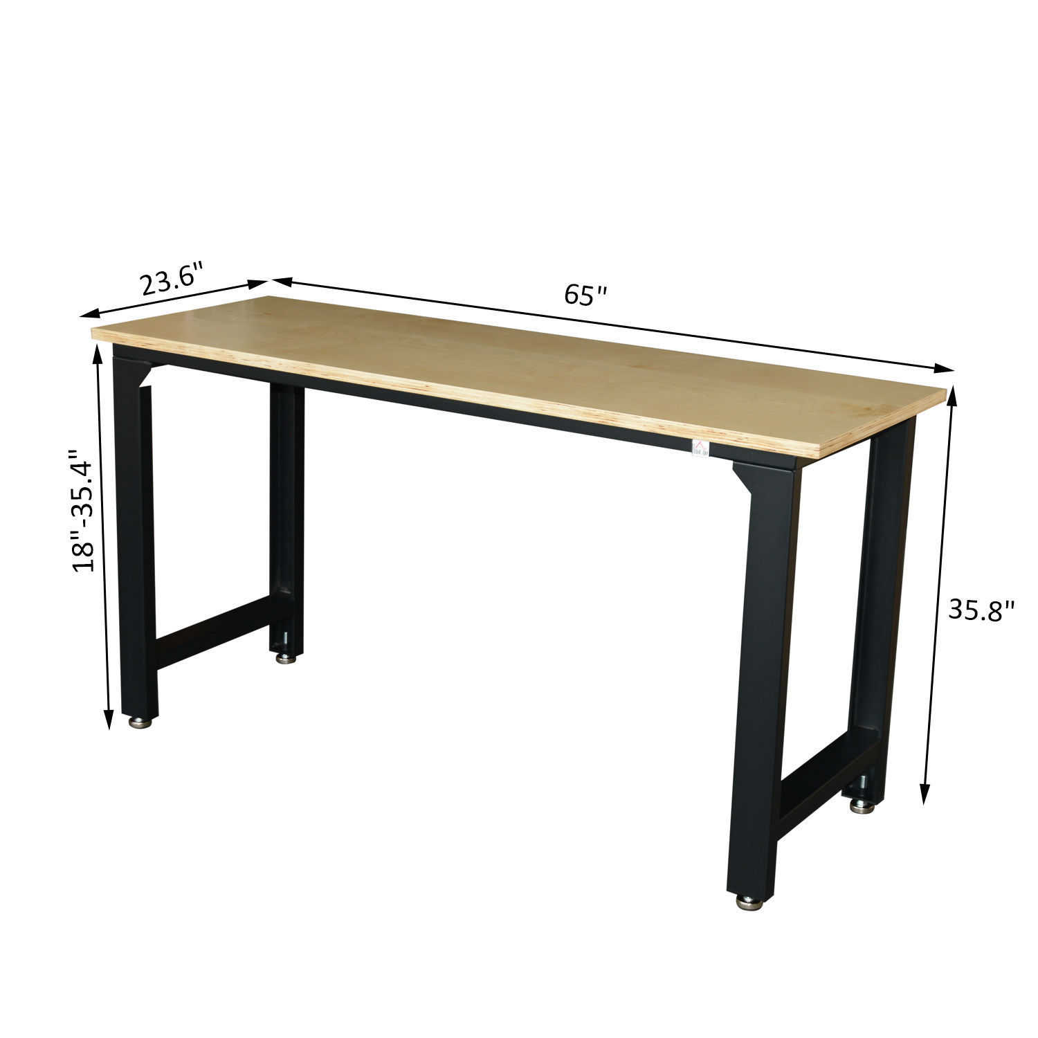 GHP 65'x23.5'x35.5' Black Frame Steel MDF Board Workbench Table with Non-Skid Feet