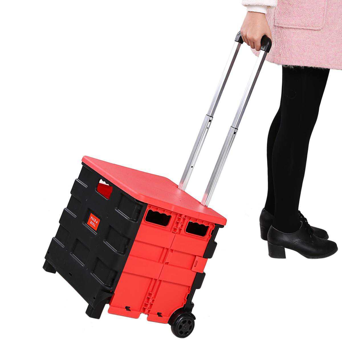 Folding Rolling Utility Cart, Hand Cart Truck Folded Collapsible Cart Shopping Crate on Wheel BETT