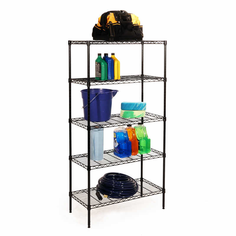 Seville Classics 5-Tier Black Epoxy Steel Wire Shelving,14 x 30 x 60