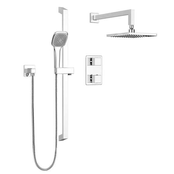 Stylish Square Shower Faucet - Complete set with Thermostatic Diverter Valve, Sliding Bar and Shower Head, Polished Chrome