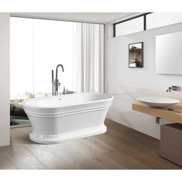 Vanity Art 67 Inch free standing white acrylic soaking bathtub.