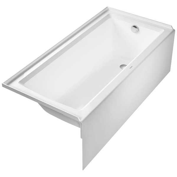 Duravit 700407000000090 Architec 66' Acrylic Soaking Bathtub for Alcove Installations with Right Drain - White