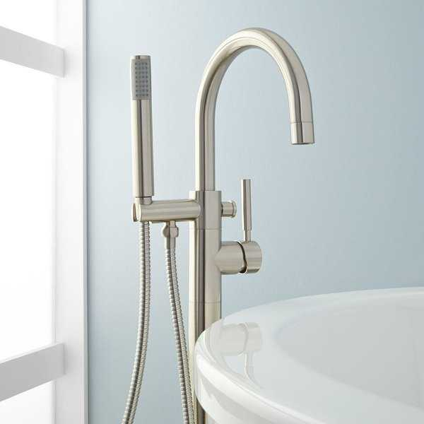 Signature Hardware 910185 Simoni Floor Mounted Tub Filler - Includes Personal Hand Shower - N/A