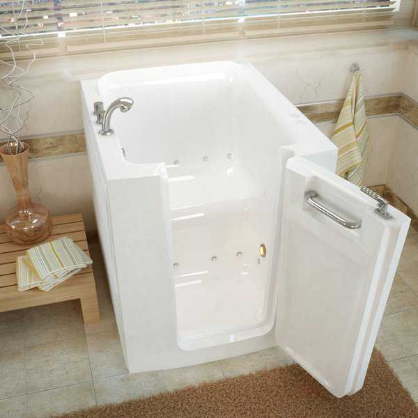 MediTub 32x38-inch Right Door White Air Jetted Walk-In Bathtub
