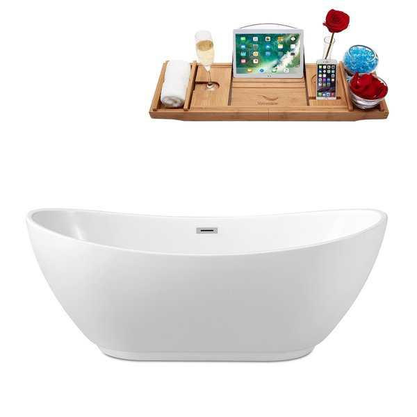 62' Streamline N-580-62FSWH-FM Soaking Freestanding Tub and Tray With Internal Drain