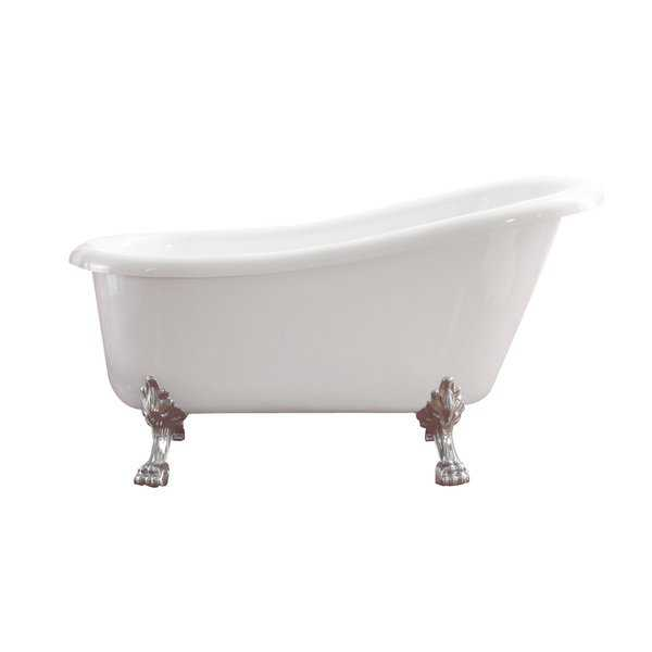 Azzuri Elise 59' Free Standing Acrylic Soaking Tub with Rear Drain, Pop-up Drain, and Overflow